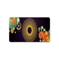 Polka Dot Circle Leaf Flower Floral Yellow Purple Red Star Magnet (Name Card)