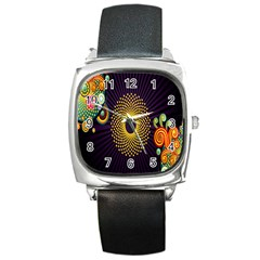 Polka Dot Circle Leaf Flower Floral Yellow Purple Red Star Square Metal Watch