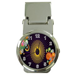 Polka Dot Circle Leaf Flower Floral Yellow Purple Red Star Money Clip Watches