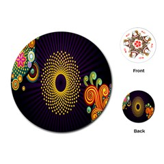 Polka Dot Circle Leaf Flower Floral Yellow Purple Red Star Playing Cards (Round)