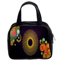 Polka Dot Circle Leaf Flower Floral Yellow Purple Red Star Classic Handbags (2 Sides)