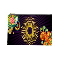 Polka Dot Circle Leaf Flower Floral Yellow Purple Red Star Cosmetic Bag (Large)