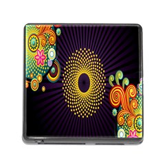 Polka Dot Circle Leaf Flower Floral Yellow Purple Red Star Memory Card Reader (Square)