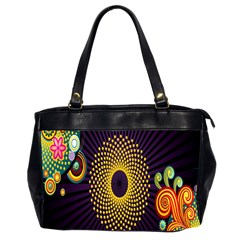 Polka Dot Circle Leaf Flower Floral Yellow Purple Red Star Office Handbags (2 Sides)