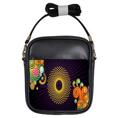 Polka Dot Circle Leaf Flower Floral Yellow Purple Red Star Girls Sling Bags