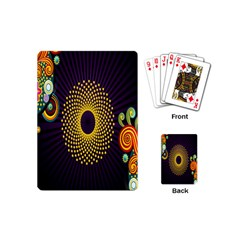Polka Dot Circle Leaf Flower Floral Yellow Purple Red Star Playing Cards (Mini)
