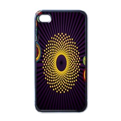Polka Dot Circle Leaf Flower Floral Yellow Purple Red Star Apple iPhone 4 Case (Black)