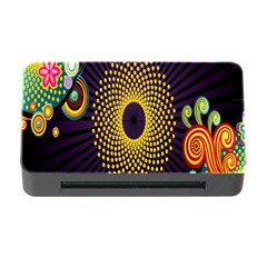 Polka Dot Circle Leaf Flower Floral Yellow Purple Red Star Memory Card Reader with CF