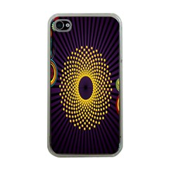 Polka Dot Circle Leaf Flower Floral Yellow Purple Red Star Apple iPhone 4 Case (Clear)