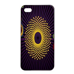 Polka Dot Circle Leaf Flower Floral Yellow Purple Red Star Apple iPhone 4/4s Seamless Case (Black)