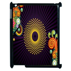 Polka Dot Circle Leaf Flower Floral Yellow Purple Red Star Apple iPad 2 Case (Black)