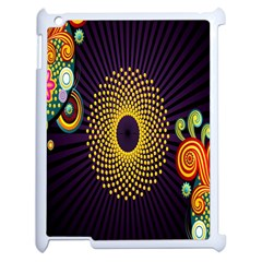 Polka Dot Circle Leaf Flower Floral Yellow Purple Red Star Apple iPad 2 Case (White)