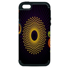 Polka Dot Circle Leaf Flower Floral Yellow Purple Red Star Apple iPhone 5 Hardshell Case (PC+Silicone)