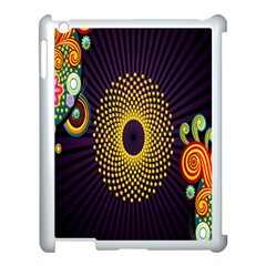 Polka Dot Circle Leaf Flower Floral Yellow Purple Red Star Apple iPad 3/4 Case (White)