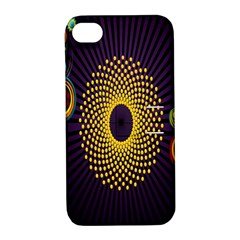 Polka Dot Circle Leaf Flower Floral Yellow Purple Red Star Apple iPhone 4/4S Hardshell Case with Stand