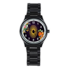 Polka Dot Circle Leaf Flower Floral Yellow Purple Red Star Stainless Steel Round Watch