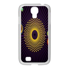 Polka Dot Circle Leaf Flower Floral Yellow Purple Red Star Samsung GALAXY S4 I9500/ I9505 Case (White)