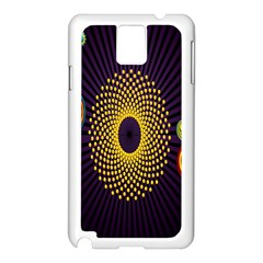 Polka Dot Circle Leaf Flower Floral Yellow Purple Red Star Samsung Galaxy Note 3 N9005 Case (White)