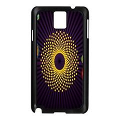 Polka Dot Circle Leaf Flower Floral Yellow Purple Red Star Samsung Galaxy Note 3 N9005 Case (Black)
