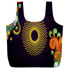 Polka Dot Circle Leaf Flower Floral Yellow Purple Red Star Full Print Recycle Bags (L)