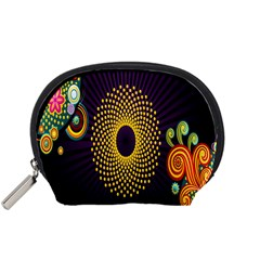Polka Dot Circle Leaf Flower Floral Yellow Purple Red Star Accessory Pouches (Small)