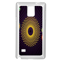 Polka Dot Circle Leaf Flower Floral Yellow Purple Red Star Samsung Galaxy Note 4 Case (White)