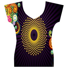 Polka Dot Circle Leaf Flower Floral Yellow Purple Red Star Women s V-Neck Cap Sleeve Top