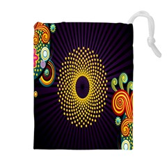 Polka Dot Circle Leaf Flower Floral Yellow Purple Red Star Drawstring Pouches (Extra Large)