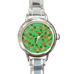 Carrot pattern Round Italian Charm Watch