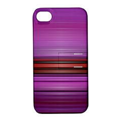 Stripes Line Red Purple Apple iPhone 4/4S Hardshell Case with Stand