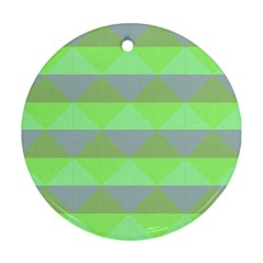Squares Triangel Green Yellow Blue Ornament (Round)