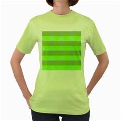 Squares Triangel Green Yellow Blue Women s Green T Shirt
