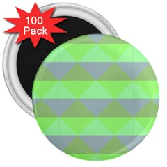Squares Triangel Green Yellow Blue 3  Magnets (100 pack)