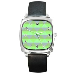 Squares Triangel Green Yellow Blue Square Metal Watch