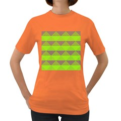 Squares Triangel Green Yellow Blue Women s Dark T-Shirt
