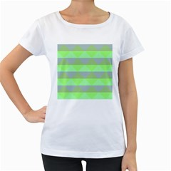 Squares Triangel Green Yellow Blue Women s Loose Fit T Shirt (white)