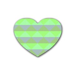 Squares Triangel Green Yellow Blue Heart Coaster (4 pack)