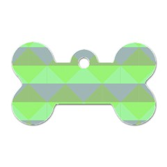 Squares Triangel Green Yellow Blue Dog Tag Bone (One Side)