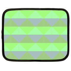Squares Triangel Green Yellow Blue Netbook Case (Large)