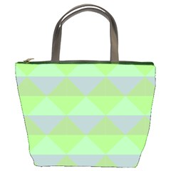 Squares Triangel Green Yellow Blue Bucket Bags
