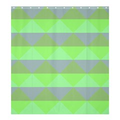 Squares Triangel Green Yellow Blue Shower Curtain 66  x 72  (Large)
