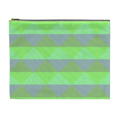 Squares Triangel Green Yellow Blue Cosmetic Bag (XL)