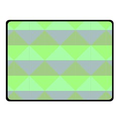 Squares Triangel Green Yellow Blue Fleece Blanket (Small)