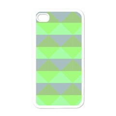 Squares Triangel Green Yellow Blue Apple iPhone 4 Case (White)