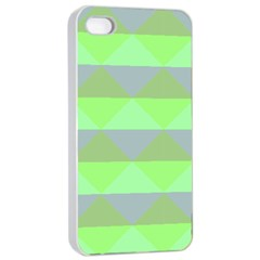 Squares Triangel Green Yellow Blue Apple iPhone 4/4s Seamless Case (White)