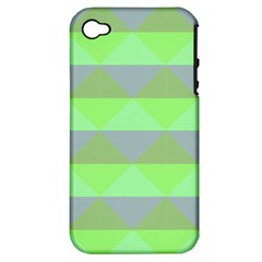 Squares Triangel Green Yellow Blue Apple iPhone 4/4S Hardshell Case (PC+Silicone)