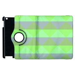 Squares Triangel Green Yellow Blue Apple Ipad 3/4 Flip 360 Case