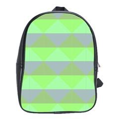 Squares Triangel Green Yellow Blue School Bags (XL)