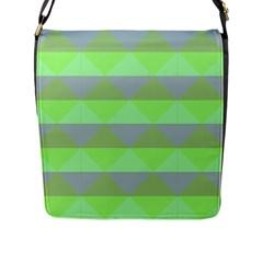 Squares Triangel Green Yellow Blue Flap Messenger Bag (L)