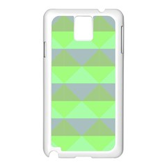 Squares Triangel Green Yellow Blue Samsung Galaxy Note 3 N9005 Case (White)